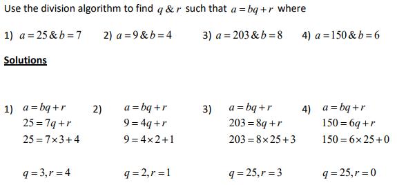 division algorithm form
